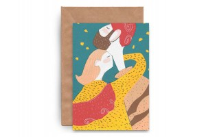 Почтовая открытка «Двое. Аппликация»