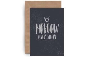 Почтовая открытка «Moscow never sleeps»