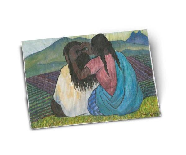 Почтовая открытка «Причесывающиеся женщины», из коллекции Музея Долорес Ольмедо, автор Диего Ривера