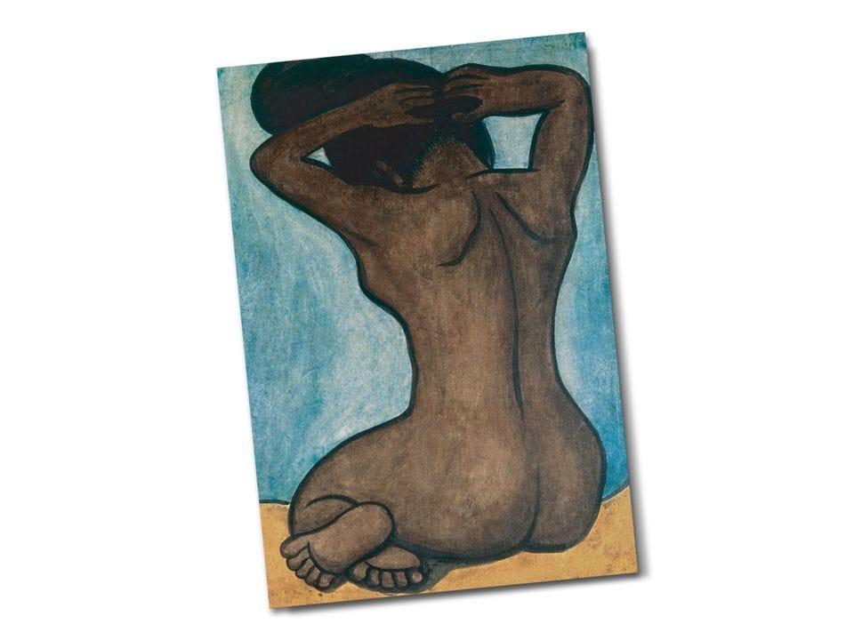 Почтовая открытка «Обнаженная теуана (Купание в реке)», из коллекции Музея Долорес Ольмедо, автор Диего Ривера