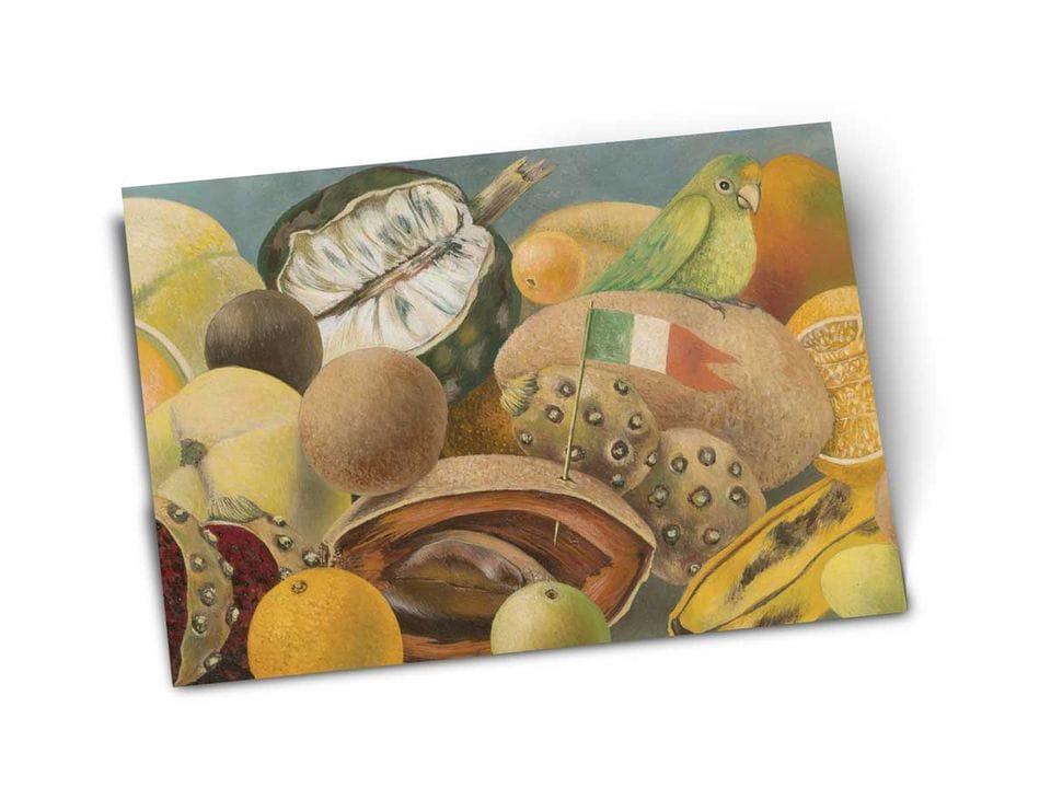 Почтовая открытка «Натюрморт с попугаем и флагом», из частной коллекции, автор Фрида Кало