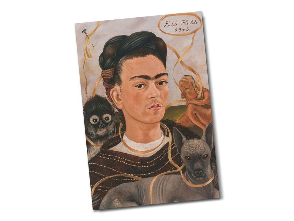 Почтовая открытка «Автопортрет с обезьянкой», из коллекции Музея Долорес Ольмедо, Мехико, автор Фрида Кало