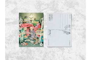 Почтовая открытка «Весёлые бабушки и чаепитие»