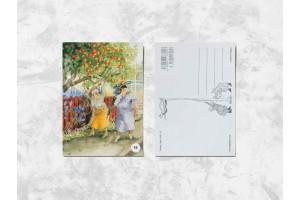 Почтовая открытка «Весёлые бабушки собирают яблоки»