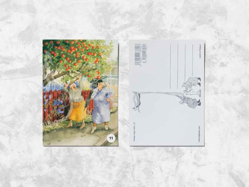 Открытка из коллекции Инги Лук «Весёлые бабушки собирают яблоки»