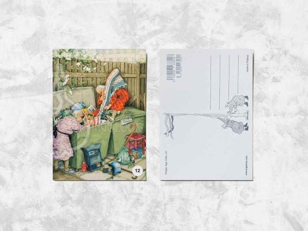 Почтовая открытка «Весёлые бабушки и мусорные баки»