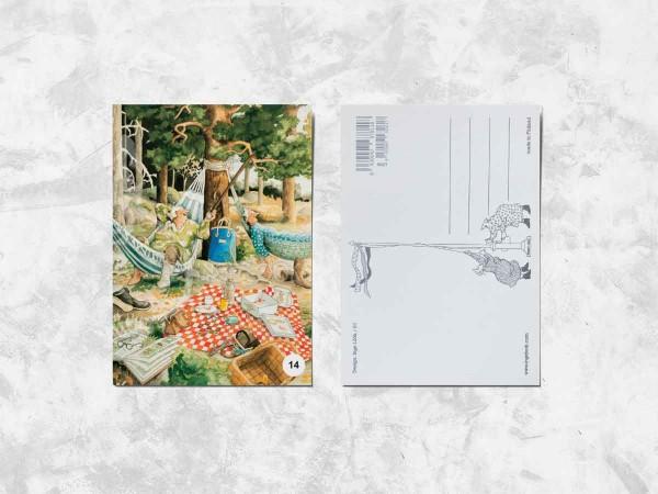Почтовая открытка «Весёлые бабушки качаются на гамаках»