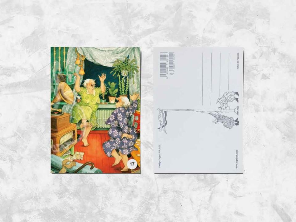 Открытка из коллекции Инге Лук «Весёлые бабушки танцуют под граммофон»
