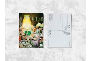 Почтовая открытка «Весёлые бабушки читают на ночь»