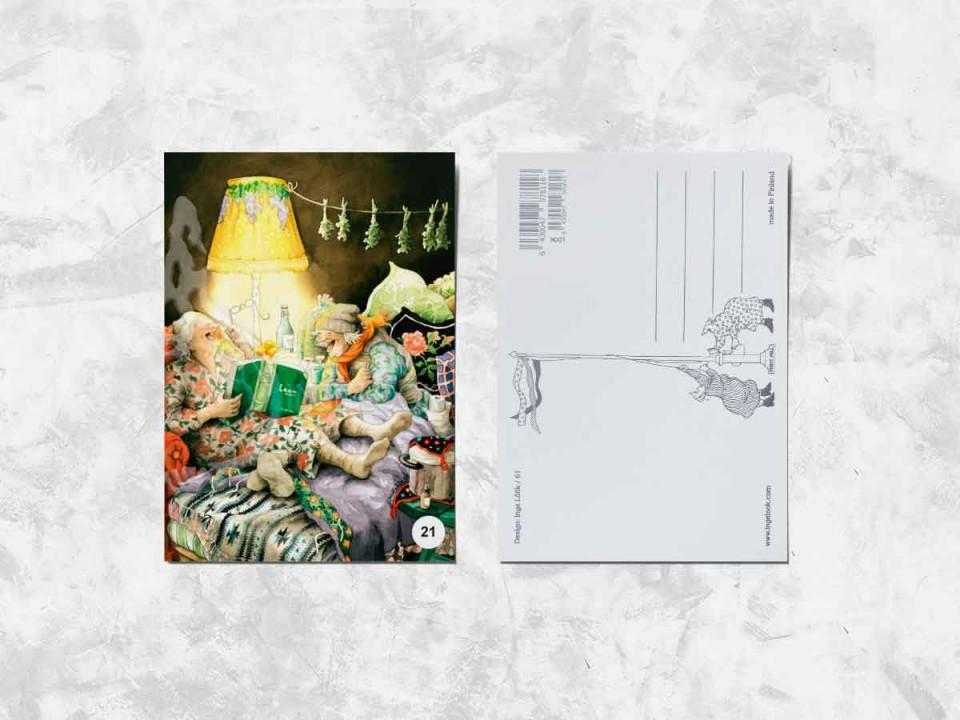 Открытка из коллекции Инги Лоок «Весёлые бабушки читают на ночь»
