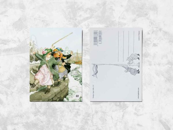 Почтовая открытка «Весёлые бабушки на прогулке»