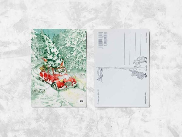Почтовая открытка «Весёлые бабушки везут елку»