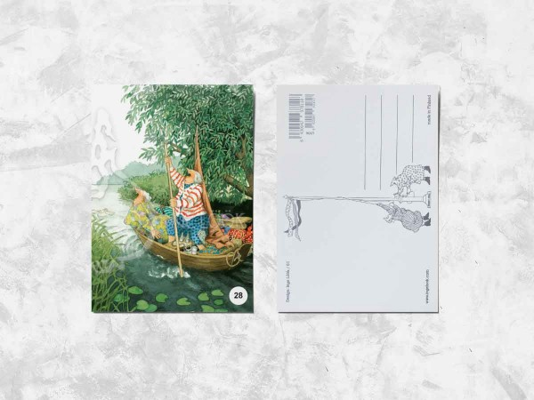 Почтовая открытка «Весёлые бабушки в лодке»