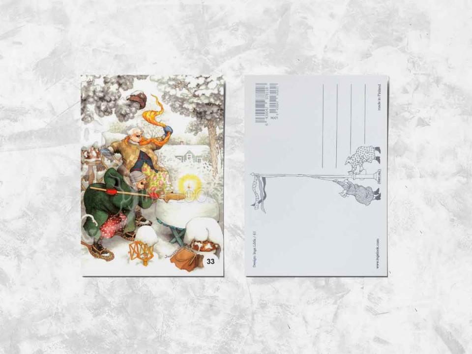 Открытка из коллекции Инге Лук «Весёлые бабушки радуются первому снегу»