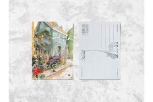 Почтовая открытка «Весёлые бабушки машут тростями»