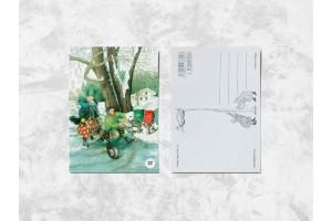 Почтовая открытка «Весёлые бабушки посыпают зимнюю дорогу песком»