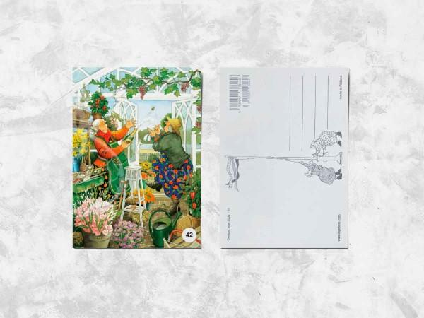 Почтовая открытка «Весёлые бабушки и бутылка шампанского»