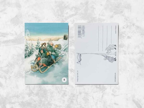 Почтовая открытка «Весёлые бабушки катаются на санях»