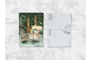 Почтовая открытка «Весёлые бабушки ночью в лесу»