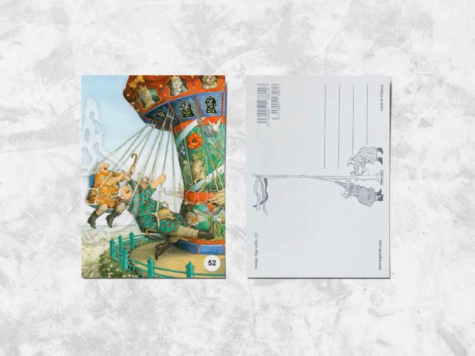 Открытка из коллекции Инге Лук «Весёлые бабушки катаются на карусели»