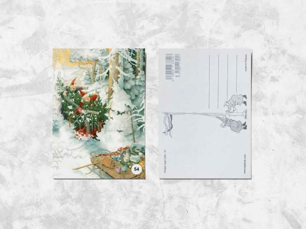 Почтовая открытка «Весёлые бабушки несут елку»