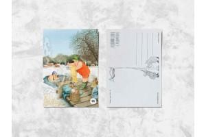Почтовая открытка «Весёлые бабушки купаются в проруби»