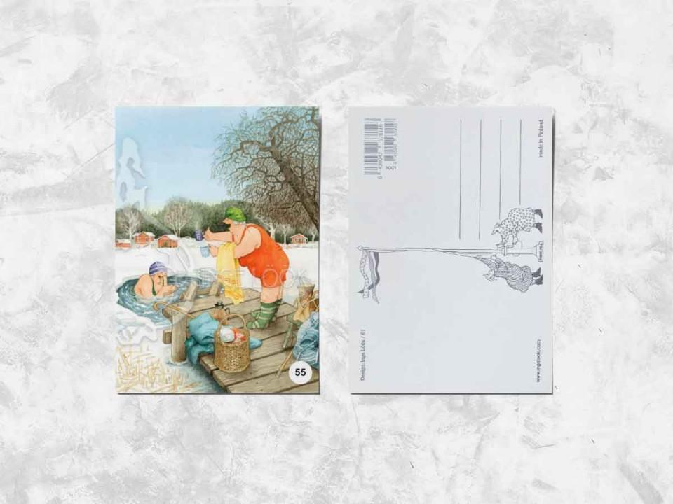 Открытка из коллекции Инге Лук «Весёлые бабушки купаются в проруби»