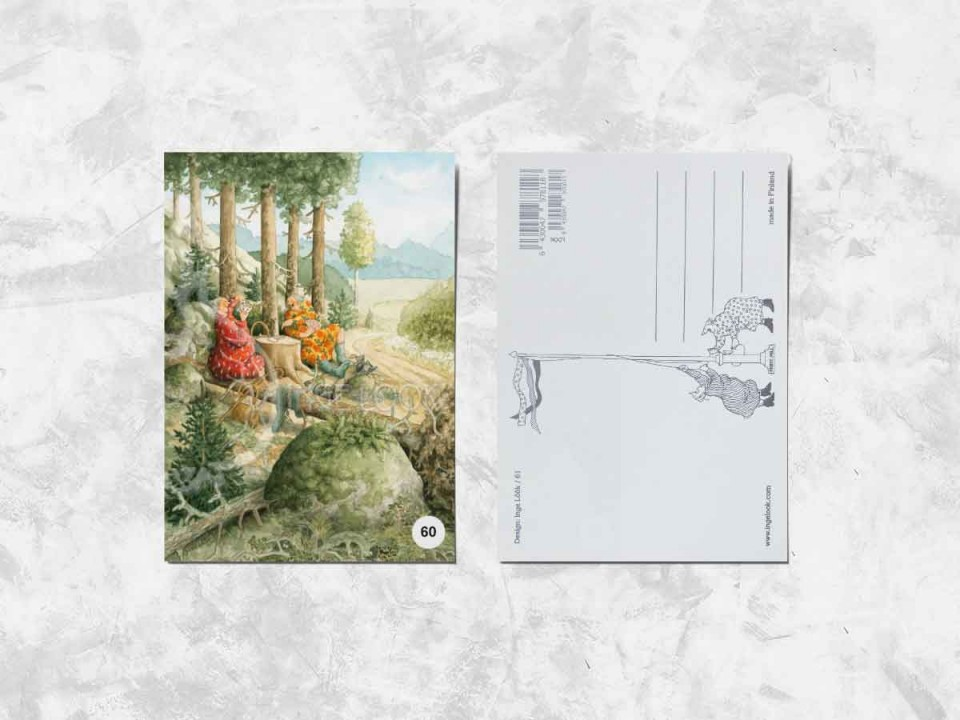 Открытка из коллекции Инги Лоок «Весёлые бабушки играют в карты в лесу»