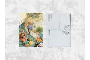 Почтовая открытка «Весёлые бабушки скатываются по лестнице»