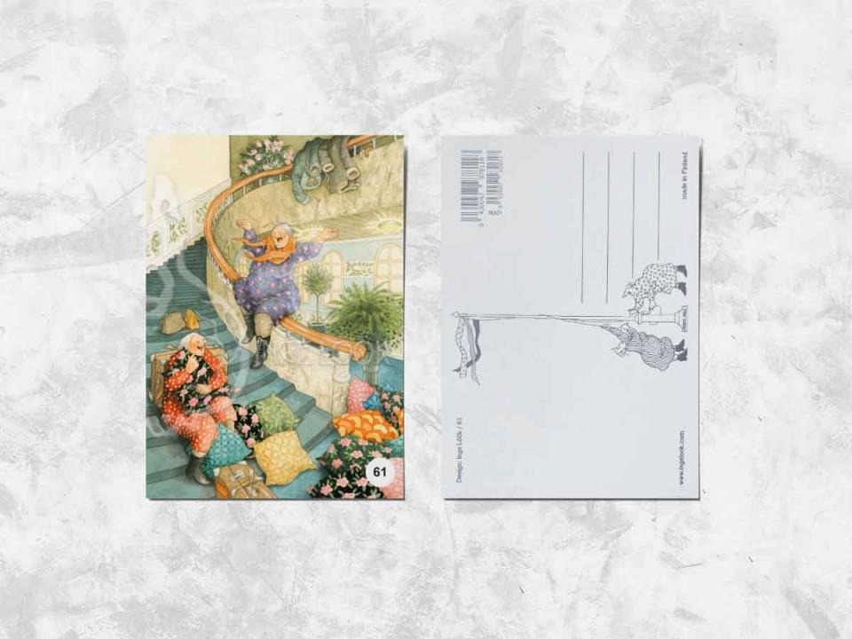 Открытка из коллекции Инге Лук «Весёлые бабушки скатываются по лестнице»