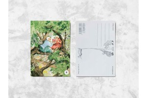 Почтовая открытка «Весёлые бабушки пьют вино на дереве»