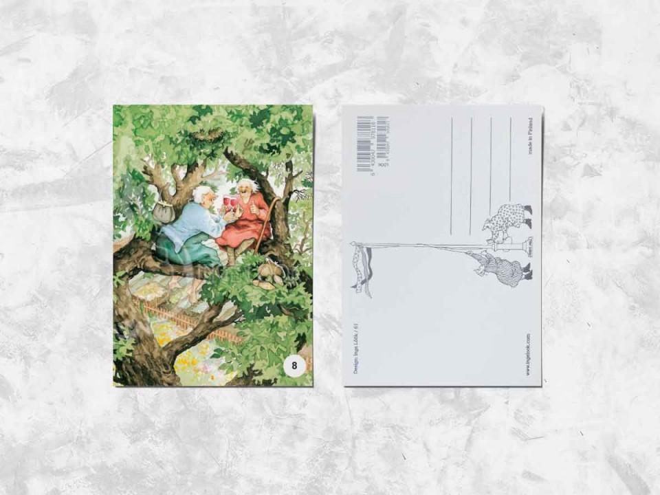 Открытка из коллекции Инги Лоок «Весёлые бабушки пьют вино на дереве»