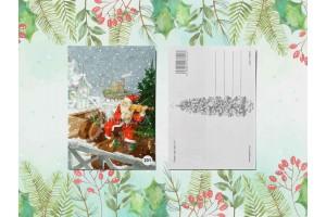 Почтовая открытка «Йоулупукки (дед мороз) играет на скрипке»