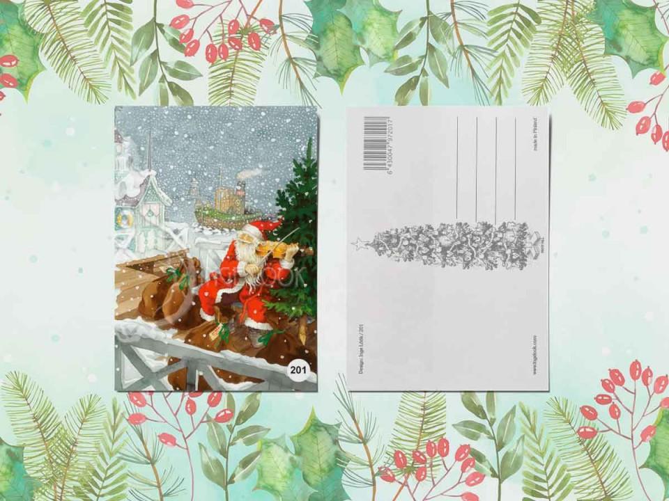 Открытка из коллекции Инге Лук «Йоулупукки (дед мороз) играет на скрипке»
