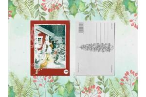 Почтовая открытка «Гномик и фонарь»