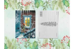 Почтовая открытка «Гномик подглядывает в окно»