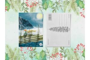 Почтовая открытка «Гномик и лиса»