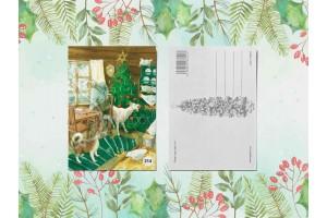 Почтовая открытка «Новогодний переполох в курятнике»