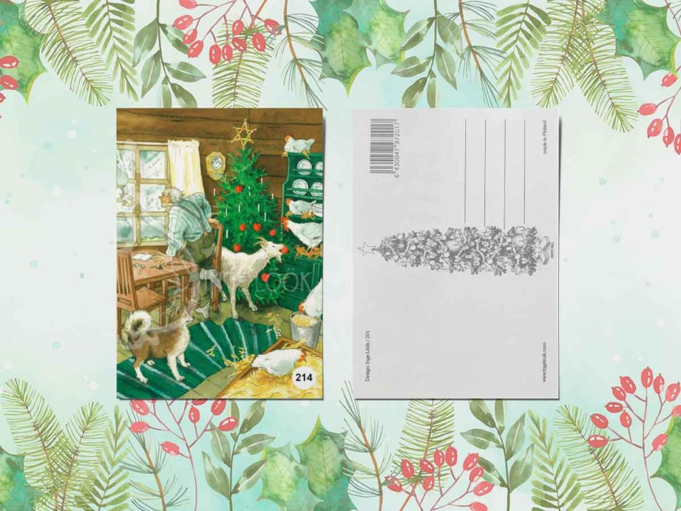 Открытка из коллекции Инги Лоок «Новогодний переполох в курятнике»