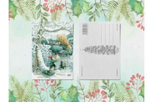 Почтовая открытка «Гномик и снегири»