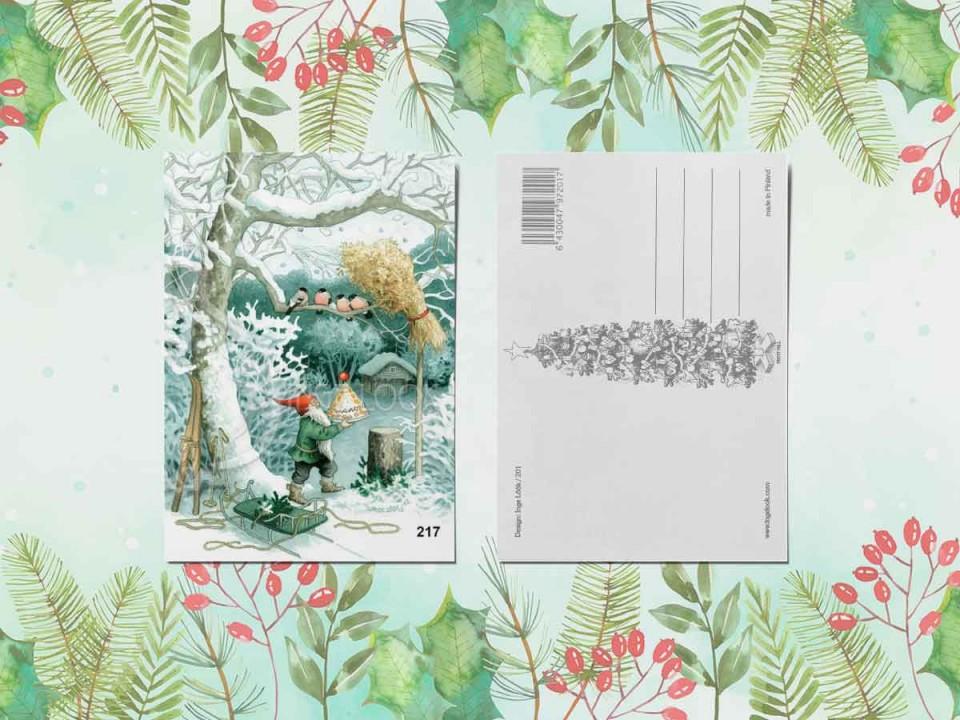 Открытка из коллекции Инге Лук «Гномик и снегири»