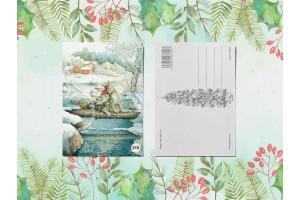 Почтовая открытка «Гномик и рысь»