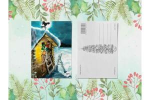 Почтовая открытка «Гномик поднимается по лестнице»