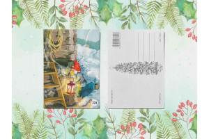Почтовая открытка «Гномик шепчет на ушко кошке»
