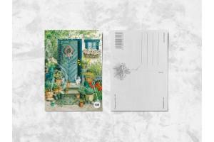 Почтовая открытка «Котик на крыльце»