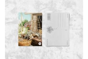 Почтовая открытка «Дедушка с собакой»