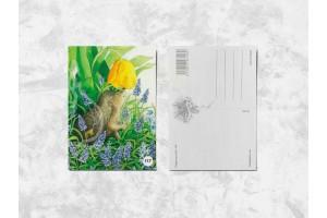 Почтовая открытка «Ёжик и тюльпан»