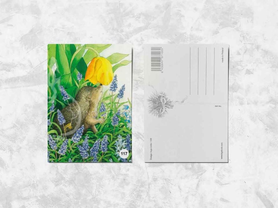 Открытка из коллекции Инги Лук «Ёжик и тюльпан»