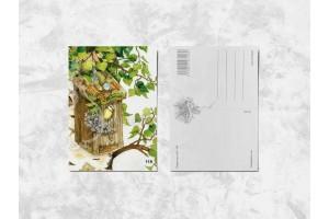 Почтовая открытка «Синички и сирень»