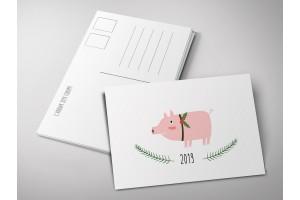 Почтовая открытка «Поросенок 2019», Елена Пирус